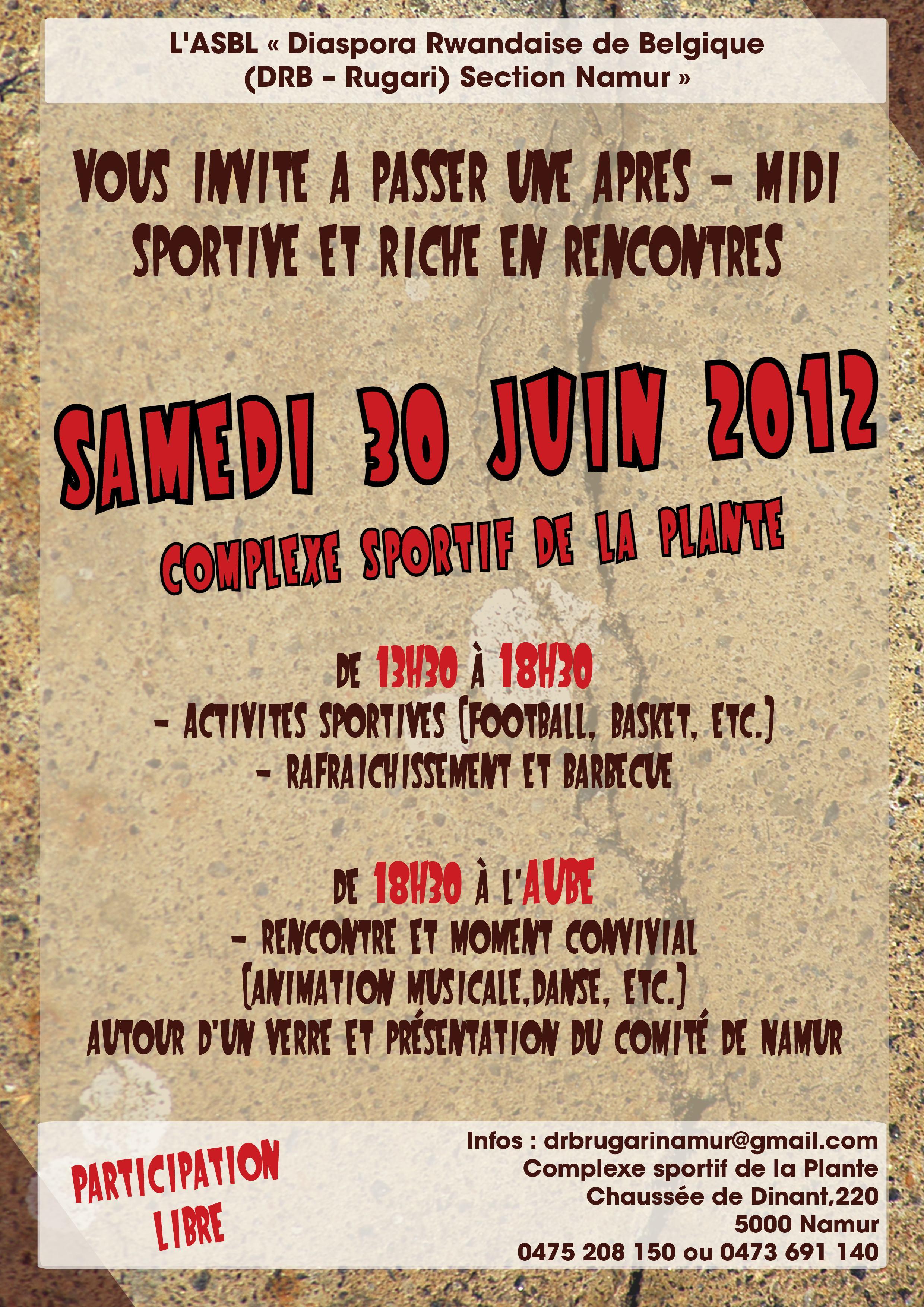 Diaspora : Après-midi sportive à Namur le 30 juin 2012