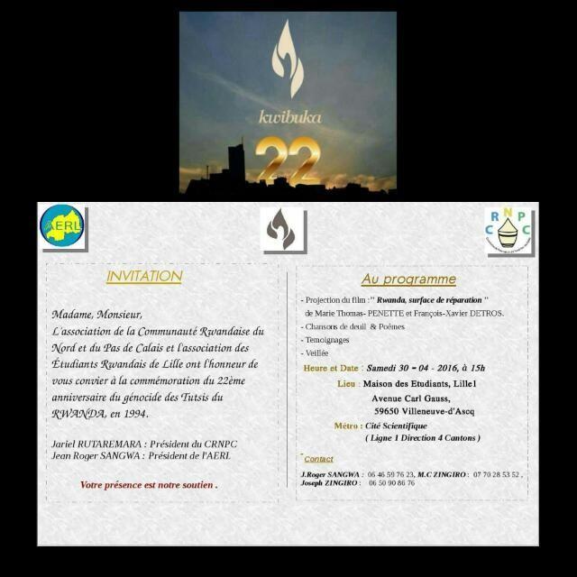 22 ième commémoration du génocide des batutsi du Rwanda